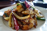 caramelized wild gulf shrimp, garlic, yellow onion, caramel chili sauce