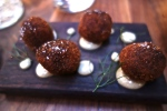 Crispy Duck Croquettes with roasted garloc aioli