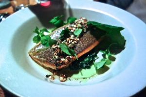 Red Trout Almondine, Spinach, Wild greens