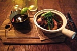 Mushroom Spicy Consomme, Shrimp with Vermicelli, Scallions, Bacon