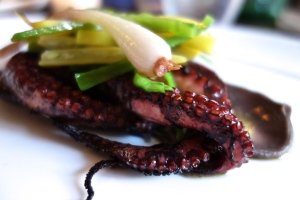 "Charred PULPO ""Pork & Bean Purée,"" spring salad"