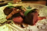 Grilled Crescent Duck Breast infused with Hojicha Tea, malanga Yam Puree, Vanilla Salt, Cocoa Nibs