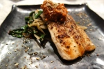 Snakehead pan seared with rainbow chard, fennel, Muhammra & Dukka
