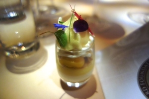 %22Exotic Fruit Verrine%22 - Coconut Dacquoise, Lime Gelee, Almond Streusel, Mango Cremeux, Passion Fruit Foam